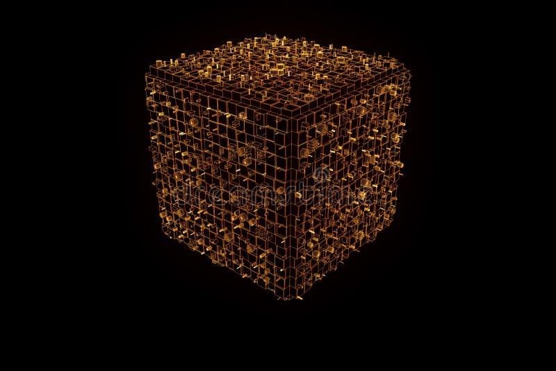 Elemento abstracto de la forma en estilo del holograma de Wireframe Representación agradable 3D ilustración del vector