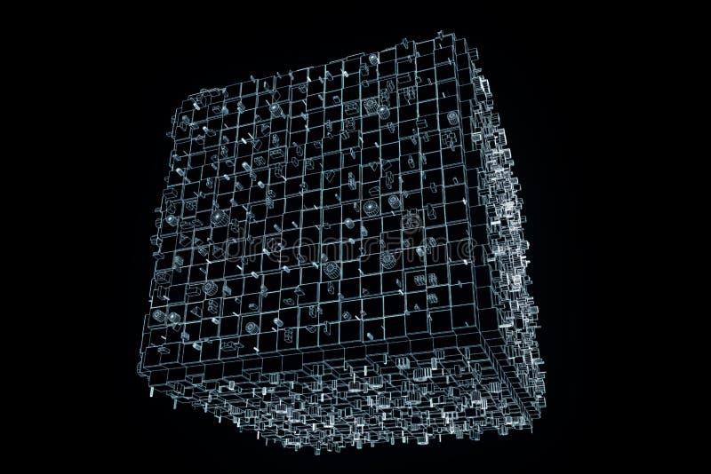 Elemento abstracto de la forma en estilo del holograma de Wireframe Representación agradable 3D stock de ilustración