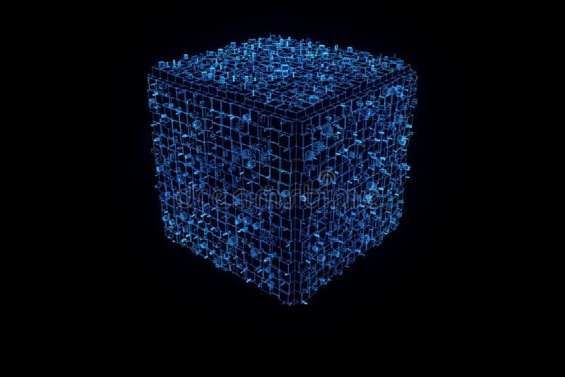 Elemento abstracto de la forma en estilo del holograma de Wireframe Representación agradable 3D libre illustration