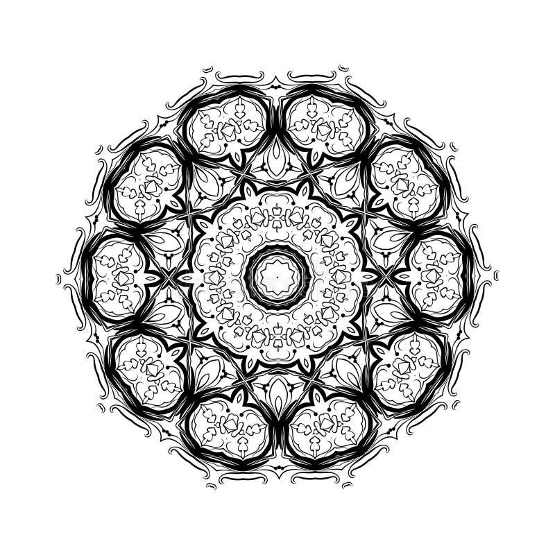 Elemento abstracto del blanco del negro del dise o mandala - Plantilla mandala pared ...