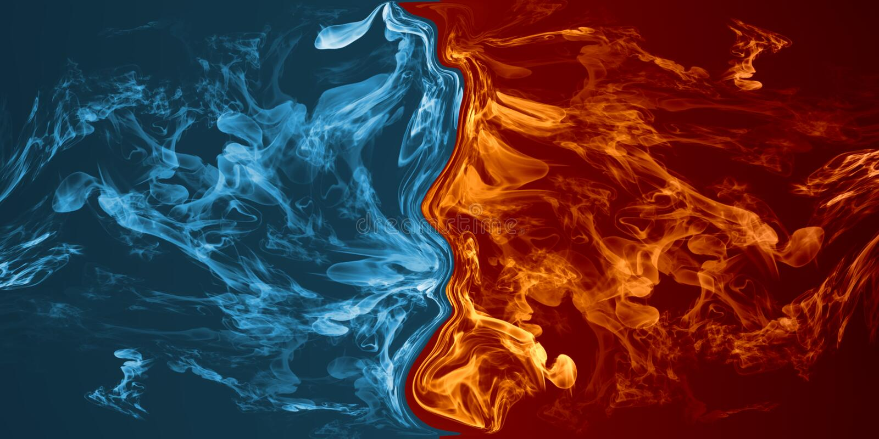 Elemento abstrato do fogo e do gelo contra contra se fundo ilustração do vetor