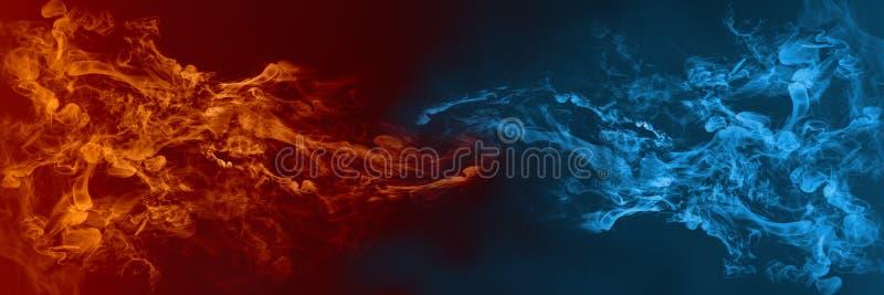 Elemento abstrato do fogo e do gelo contra contra se fundo Calor e conceito frio ilustração stock