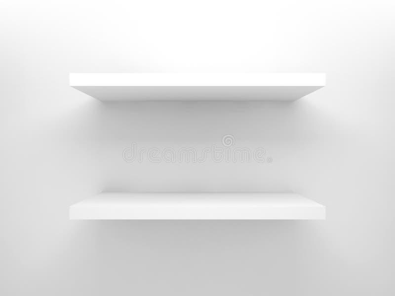 Elemento abstrato do projeto 3d, prateleiras brancas vazias ilustração do vetor