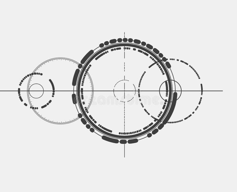 Elemento abstrato do projeto no estilo do construtivismo Sinal abstrato de Minimalistic ilustração do vetor