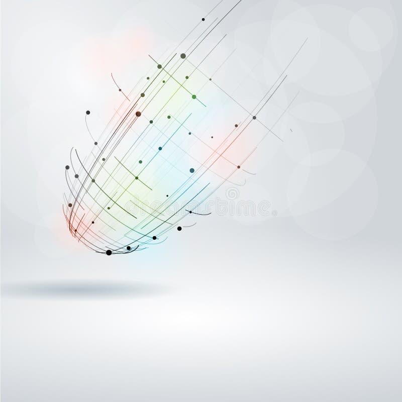 Elemento abstrato do projeto Objeto de Wireframe com linhas e pontos ilustração stock