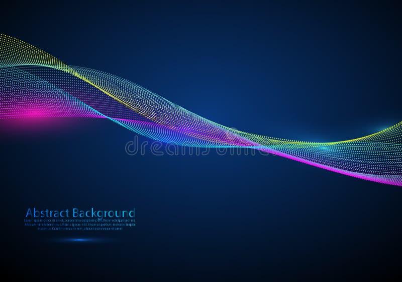 Elemento abstrato do projeto do vetor Ondas de fluxo da partícula ilustração stock