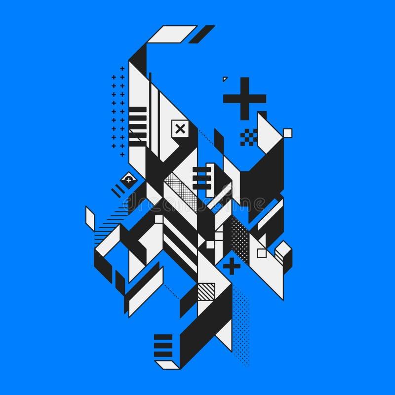 Elemento abstrato no fundo azul ilustração royalty free