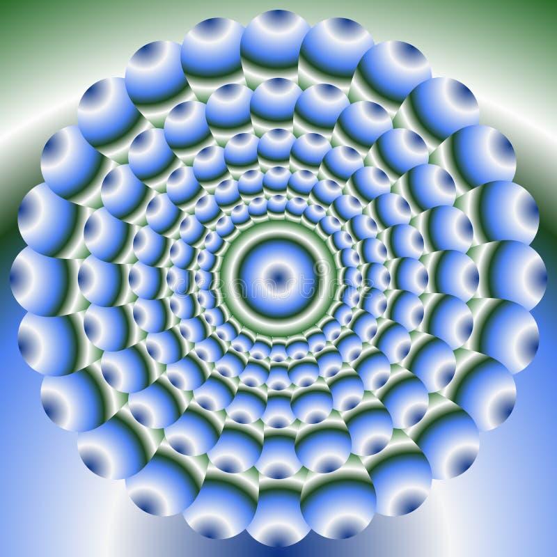 Elemento abstrato verde e azul do círculo no estilo ótico da arte Formas do círculo concêntrico no fundo do inclinação Mandala pa ilustração do vetor