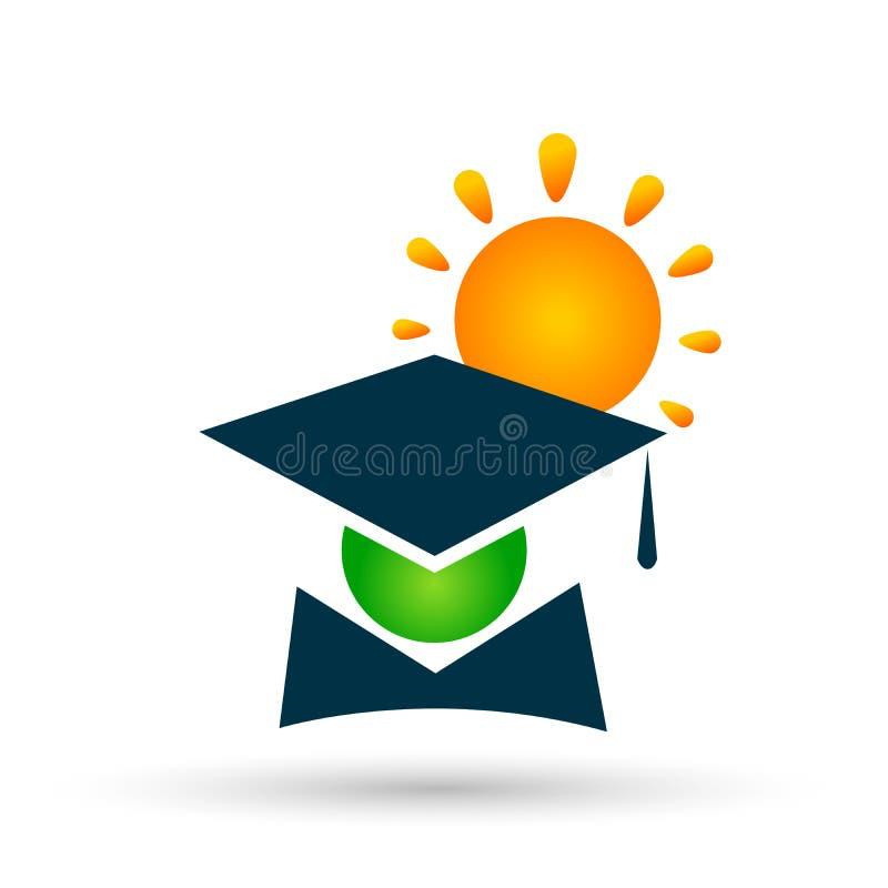 Elemento acertado del icono del soltero de los estudiantes de la graduación del icono del logotipo del sol del mundo de la gente  stock de ilustración