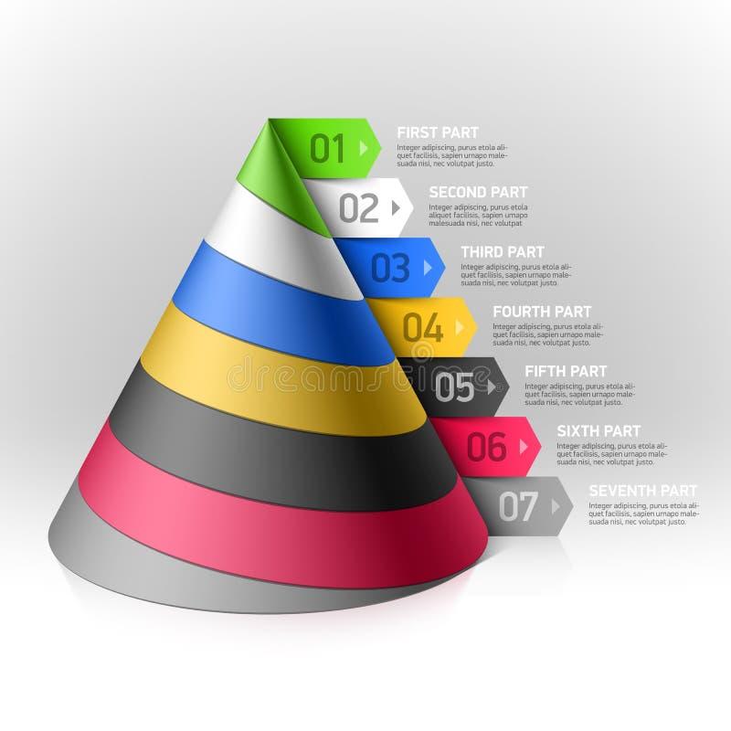 Elemento acodado del diseño del cono ilustración del vector