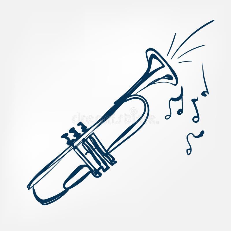 Elemento aislado ejemplo del diseño del vector del bosquejo de la trompeta libre illustration