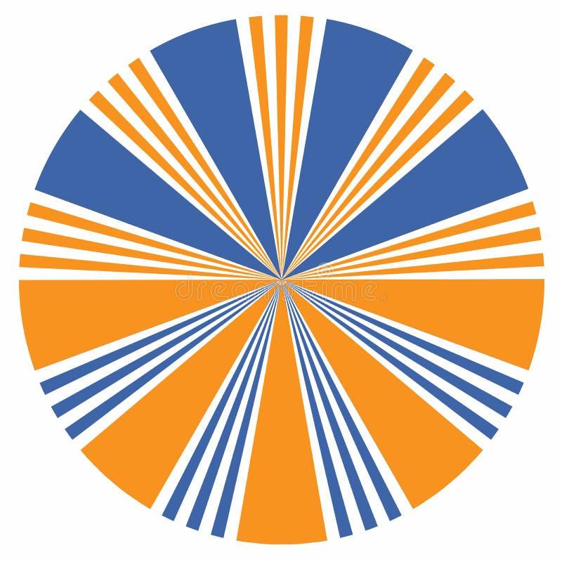 Elemento alaranjado e azul do projeto do sunburst do ícone da seta Sumário ilustração do vetor