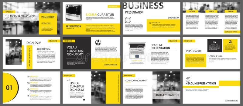 Elemento amarelo para a corrediça infographic no fundo apresentação ilustração do vetor