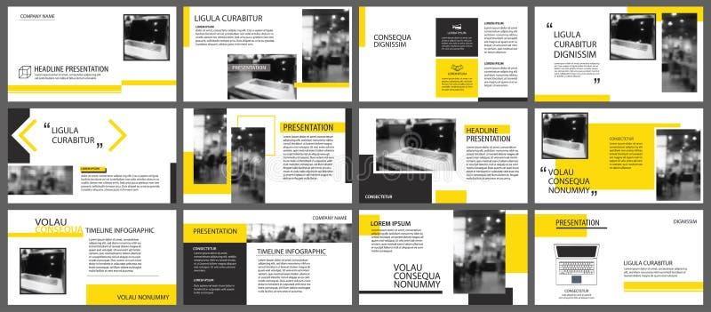Elemento amarelo para a corrediça infographic no fundo apresentação ilustração stock
