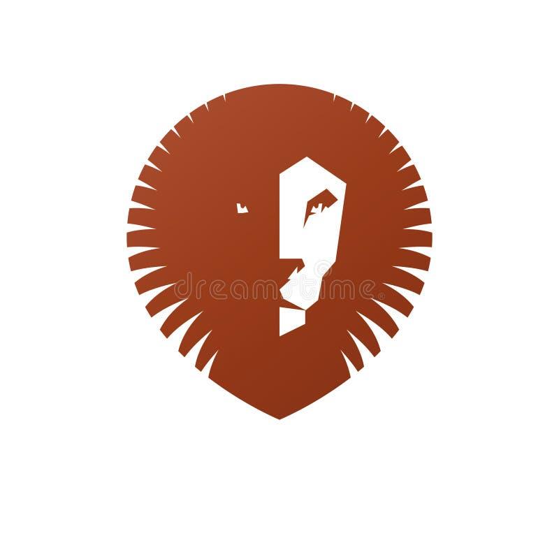 Elemento antiguo del animal del emblema del león valiente Elemento heráldico del diseño del vector Etiqueta retra del estilo libre illustration
