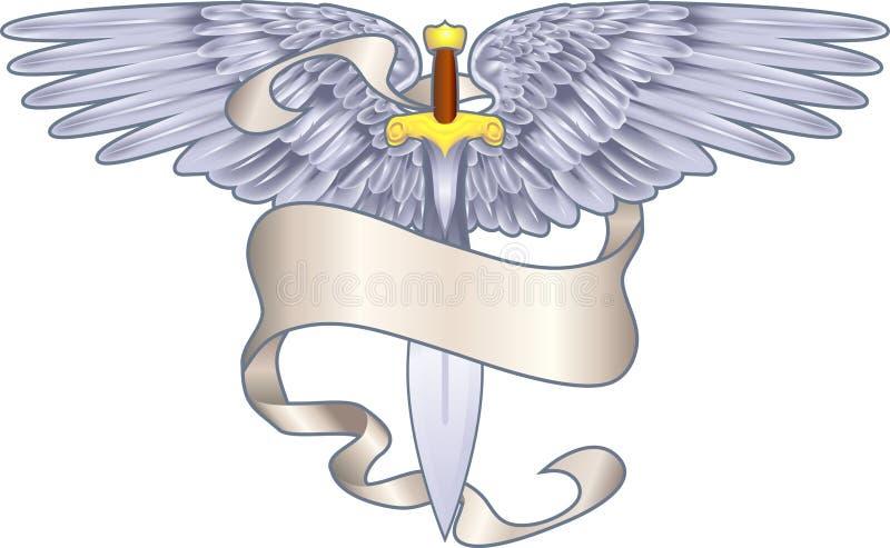 Elemento araldico alato della spada illustrazione di stock