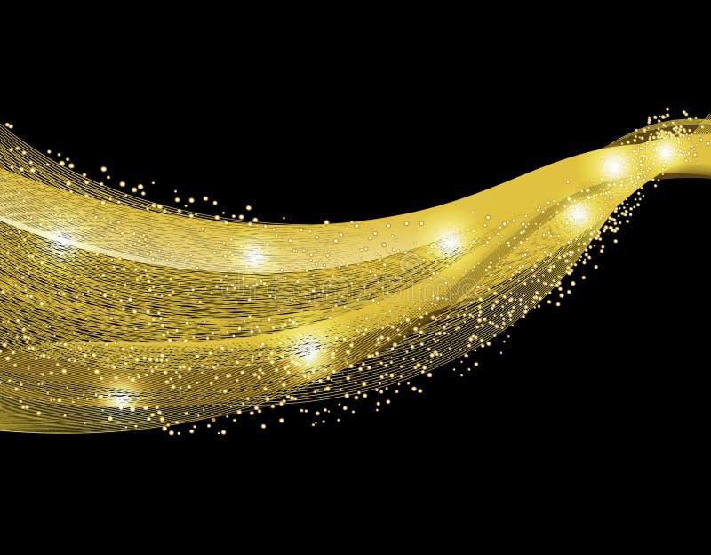 Elemento astratto di progettazione dell'onda dell'oro con effetto di scintillio su fondo scuro Illustrazione illustrazione di stock