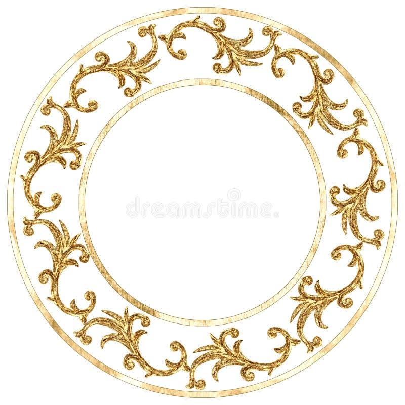 Elemento barrocco di stile dell'ornamento del giro dell'oro Struttura a filigrana d'incisione d'annata disegnata a mano del rotol illustrazione vettoriale