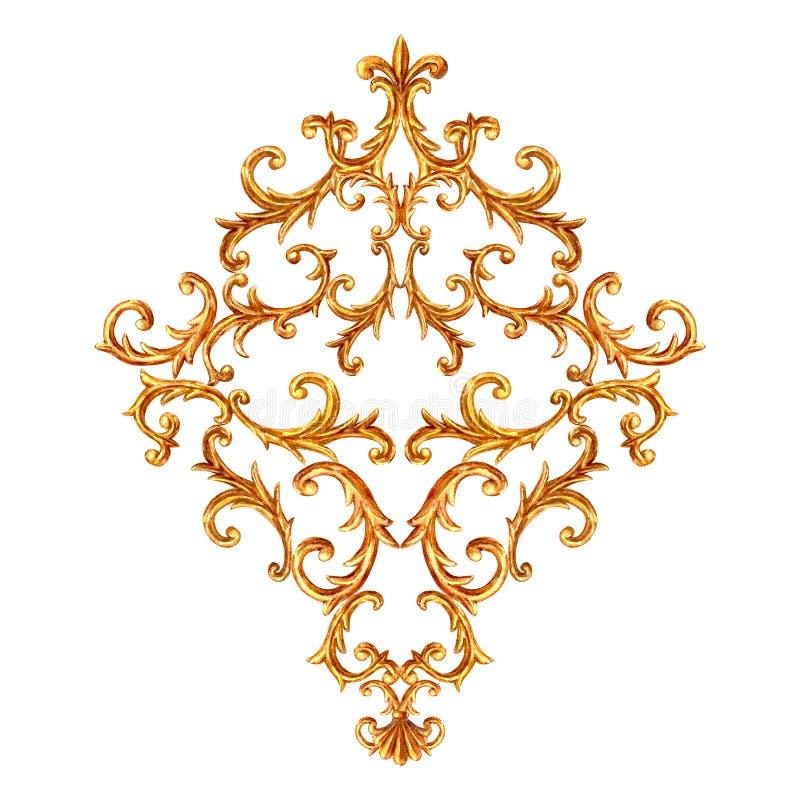 Elemento barroco del oro del estilo Vintage exhausto de la mano de la acuarela que graba diseño afiligranado del Rhombus de la vo stock de ilustración