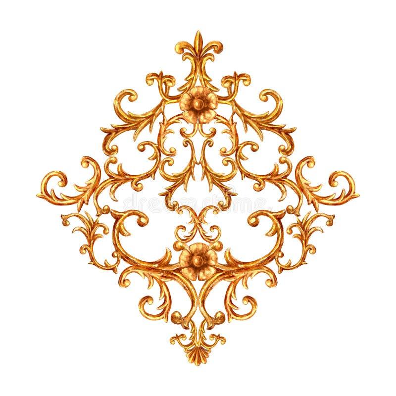 Elemento barroco del oro del estilo Vintage exhausto de la mano de la acuarela que graba dise?o afiligranado del Rhombus de la vo libre illustration