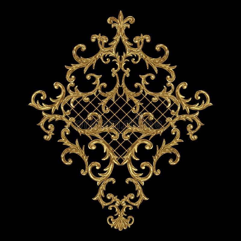 Elemento barroco del oro del estilo Vintage exhausto de la mano de la acuarela que graba dise?o afiligranado del Rhombus de la vo ilustración del vector