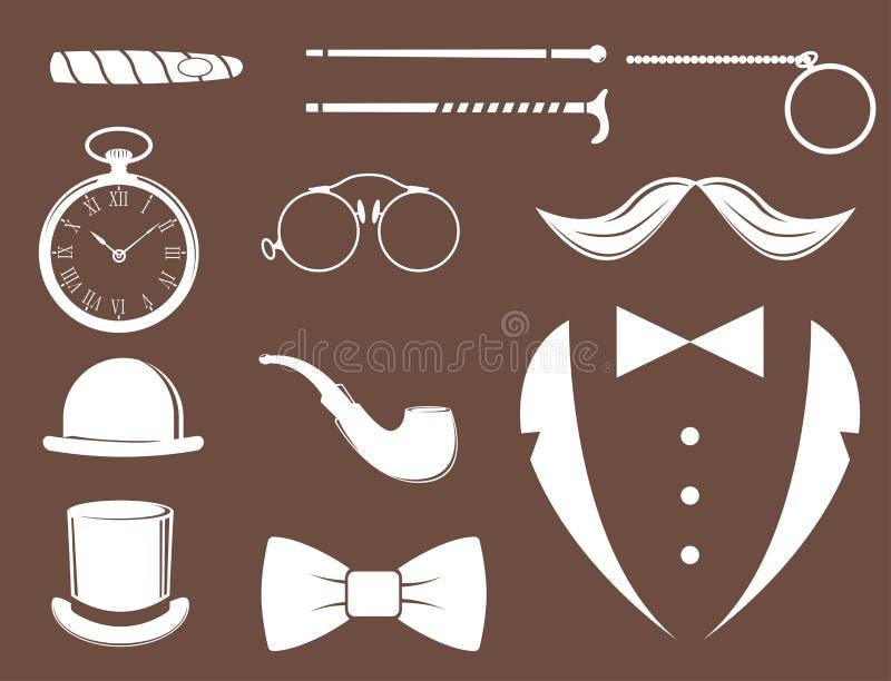 Elemento blanco del bigote del diseño de la silueta del ejemplo del vector del caballero del inconformista del diseño del estilo  stock de ilustración