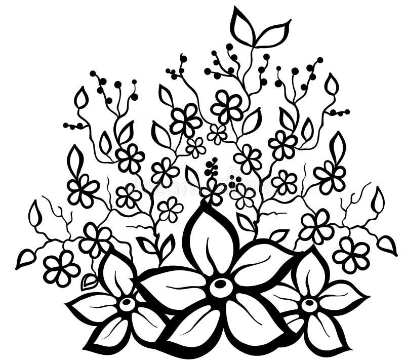 Elemento blanco y negro del diseño del estampado de flores. libre illustration