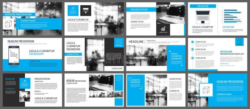 Elemento blu e bianco per lo scorrevole infographic su fondo pres illustrazione di stock