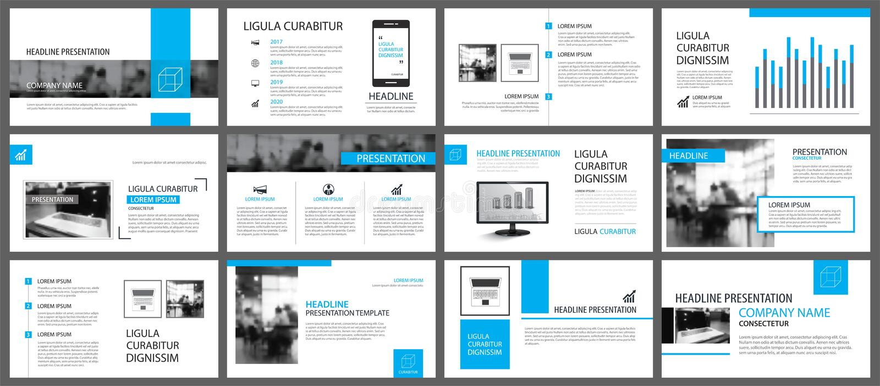 Elemento blu e bianco per lo scorrevole infographic su fondo pres royalty illustrazione gratis