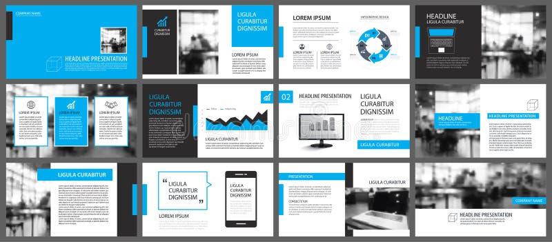 Elemento blu e bianco per lo scorrevole infographic su fondo pres illustrazione vettoriale