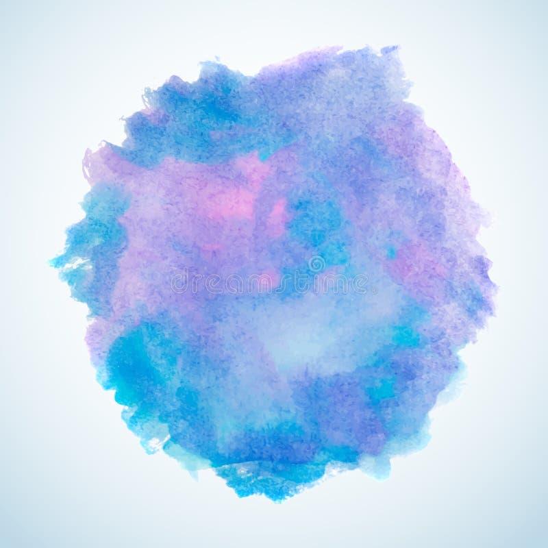 Elemento blu e porpora di progettazione della spruzzata dell'acquerello illustrazione di stock