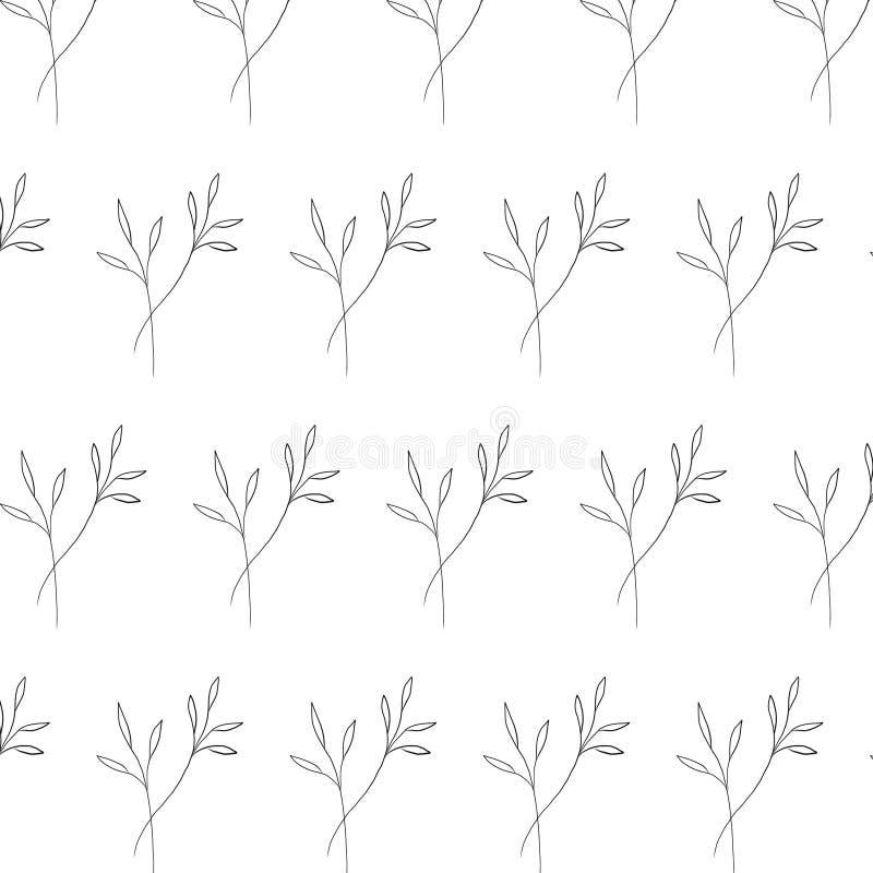 Elemento botânico tirado mão do teste padrão minimalistic no estilo gráfico ilustração stock