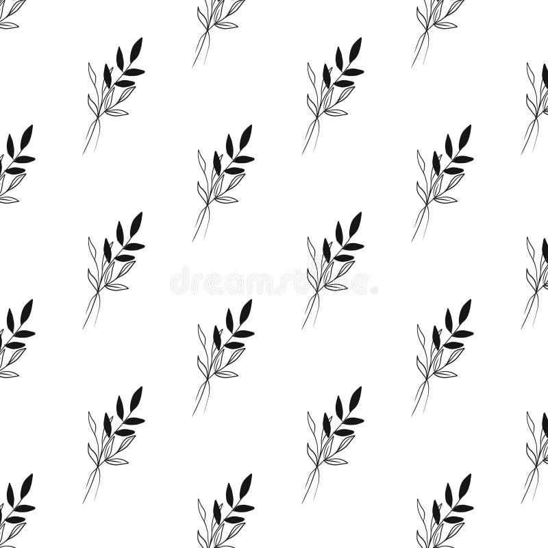 Elemento botânico tirado mão do teste padrão minimalistic no estilo gráfico ilustração royalty free