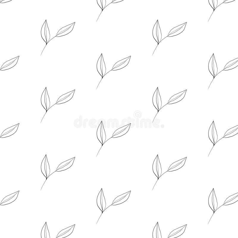 Elemento botânico tirado mão do teste padrão minimalistic no estilo gráfico ilustração do vetor