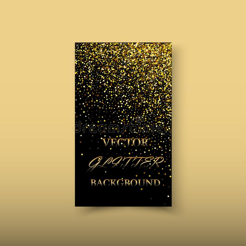 Elemento brilhante abstrato do projeto da onda do ouro da cor do vetor com efeito do brilho no fundo escuro ilustração do vetor