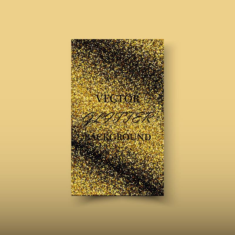 Elemento brilhante abstrato do projeto da onda do ouro da cor do vetor com efeito do brilho no fundo escuro ilustração stock