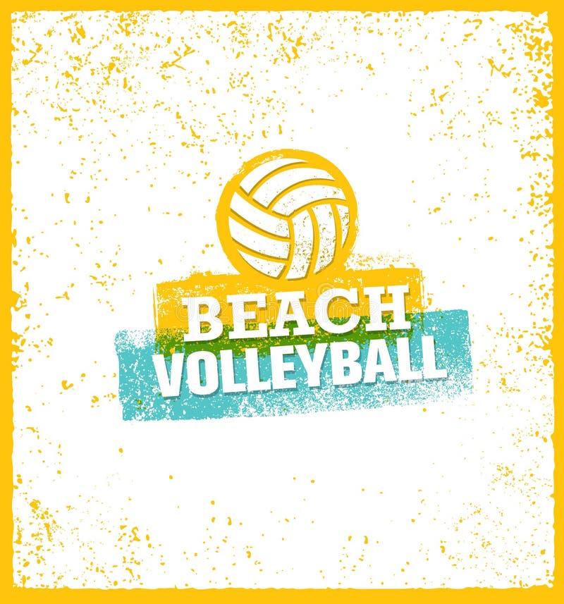 Elemento brilhante do projeto do vetor do voleibol de praia no fundo do Grunge ilustração stock