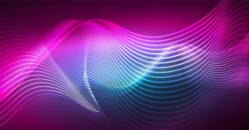 Elemento brillante abstracto del diseño de la onda del color del glowinng en fondo oscuro - ciencia o concepto de la tecnología stock de ilustración