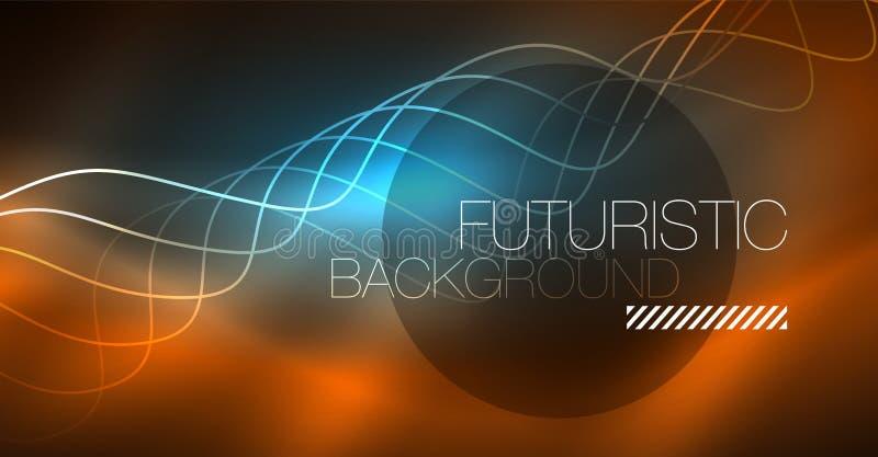 Elemento brillante abstracto del diseño de la onda del color del glowinng en fondo oscuro - ciencia o concepto de la tecnología ilustración del vector