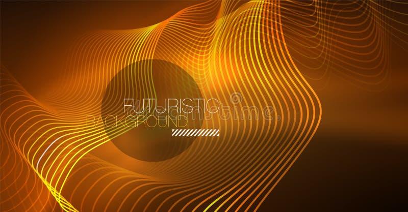 Elemento brillante abstracto del diseño de la onda del color del glowinng en fondo oscuro - ciencia o concepto de la tecnología libre illustration