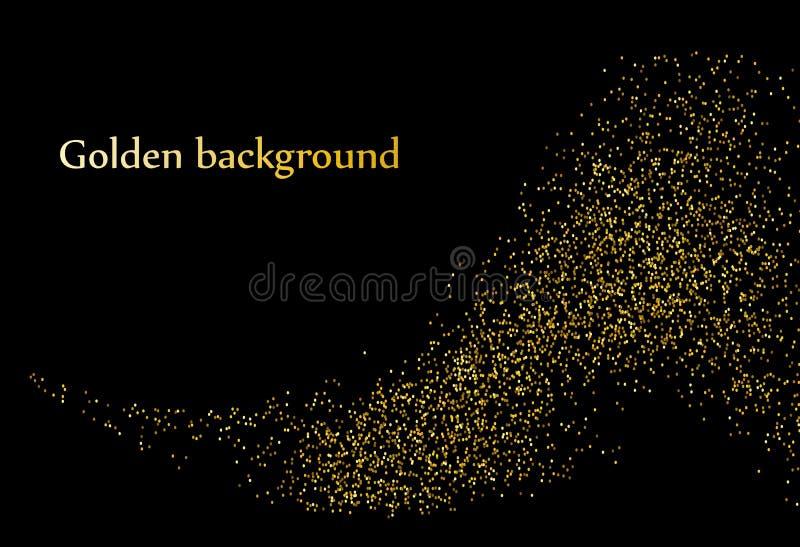 Elemento brillante abstracto del diseño de la onda del oro del color del vector con efecto del brillo sobre fondo oscuro stock de ilustración