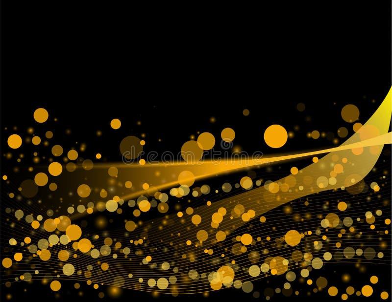 Elemento brillante abstracto del diseño de la onda del oro del color del vector con efecto del brillo sobre fondo oscuro ilustración del vector