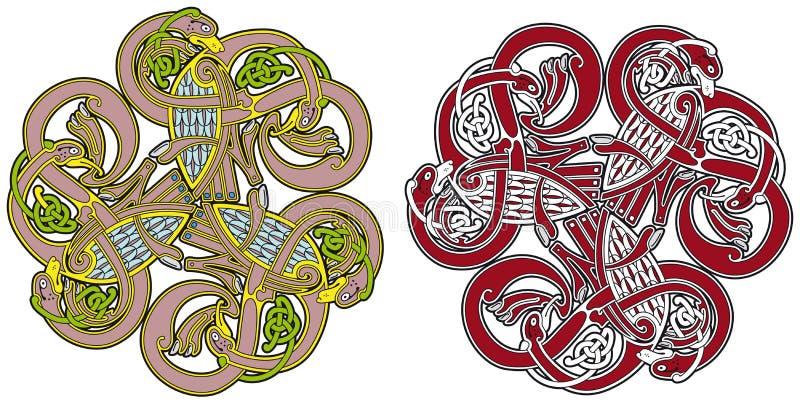 Elemento céltico del diseño con los pájaros y los animales libre illustration