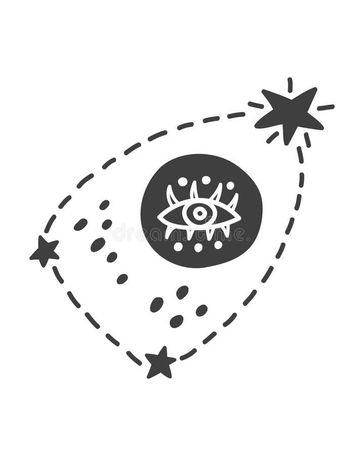 Elemento cósmico criançola da galáxia do espaço com constelação e olho ilustração do vetor