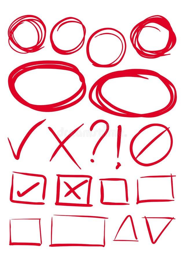 Elemento, caja y marcas de verificación rojos del drenaje de la mano libre illustration