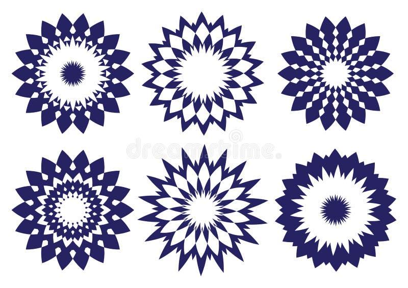 Elemento caleidoscópico del diseño del vector abstracto azul de medianoche stock de ilustración