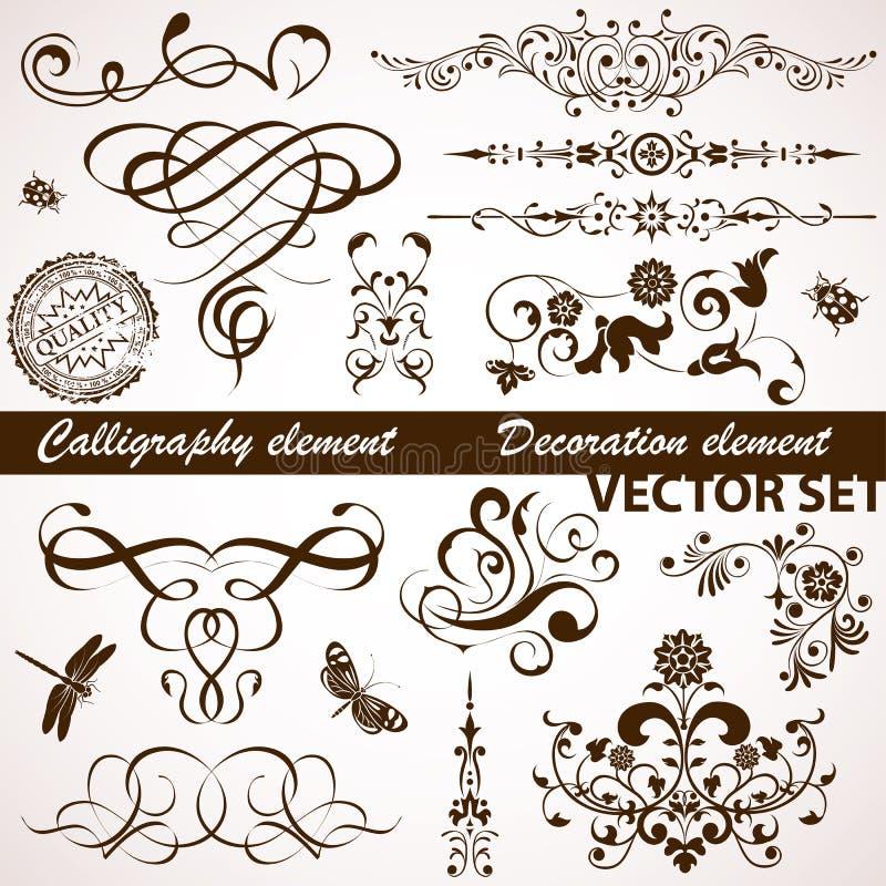 Elemento caligráfico y floral ilustración del vector