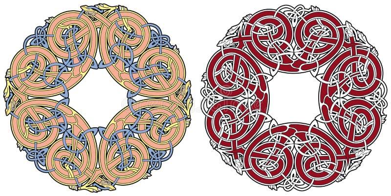 Elemento celtico di disegno con gli uccelli e gli animali royalty illustrazione gratis