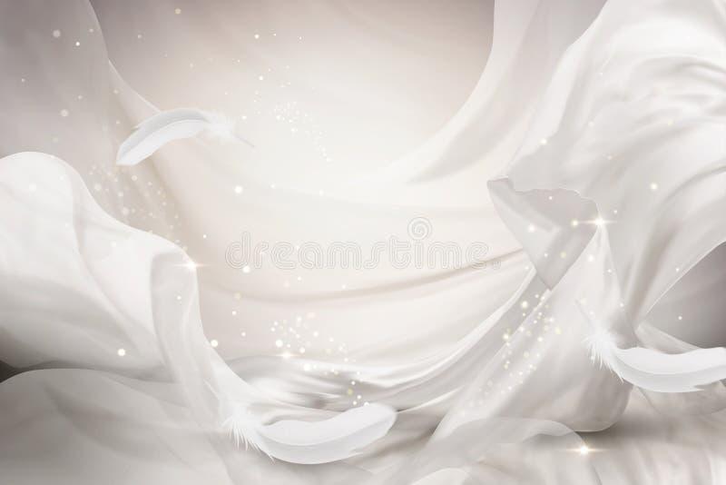 Elemento chiffon di progettazione del bianco perla illustrazione vettoriale