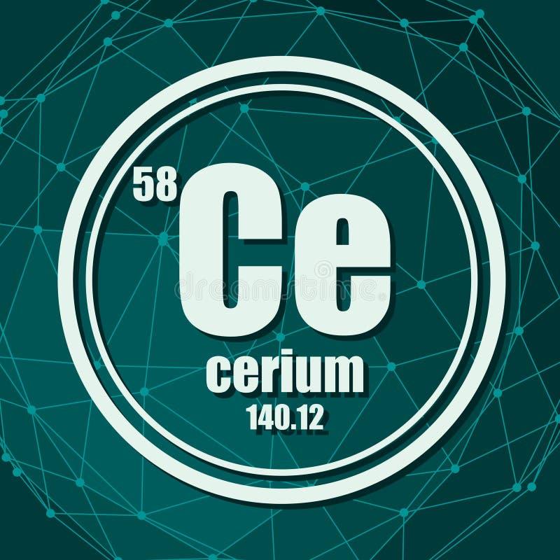 Elemento chimico del cerio illustrazione di stock